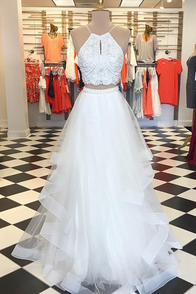 Elegant Two Piece White Long Prom Dress · modseleystore · Online ...