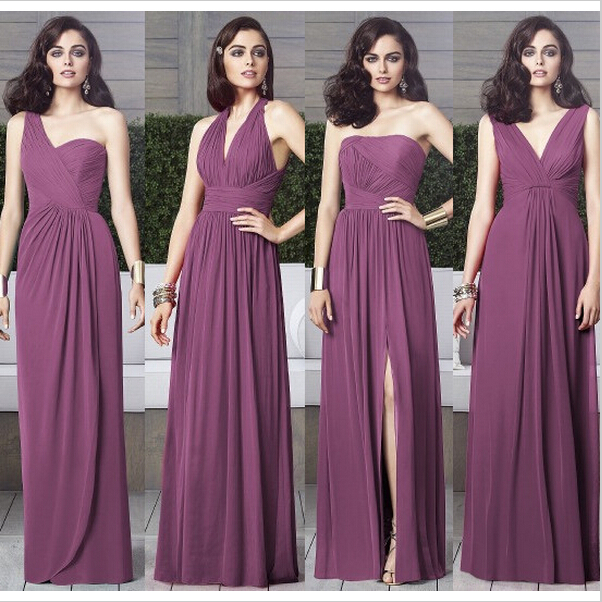 Cheap Chiffon Mismatched Purple Long Bridesmaid Dresses Affordable Unique Custom