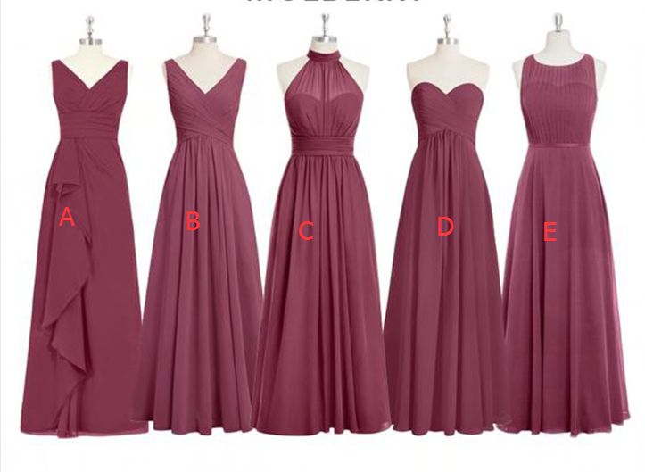 Cheap Chiffon Mismatched Dusty Red Long Bridesmaid Dresses ...