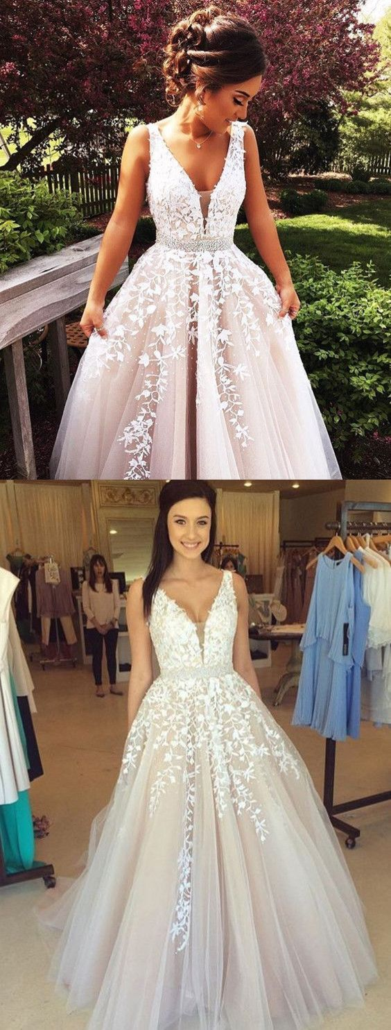 Charming white lace Prom Dresses,ball gown Evening Dress,modest Prom ...