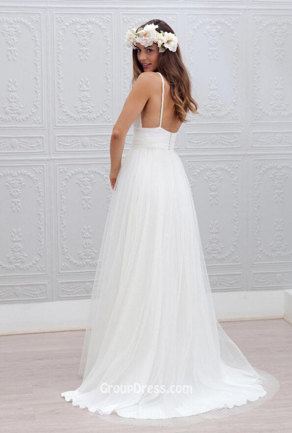 Hot Sale Custom Simple White wedding dress,Spaghetti Straps wedding ...