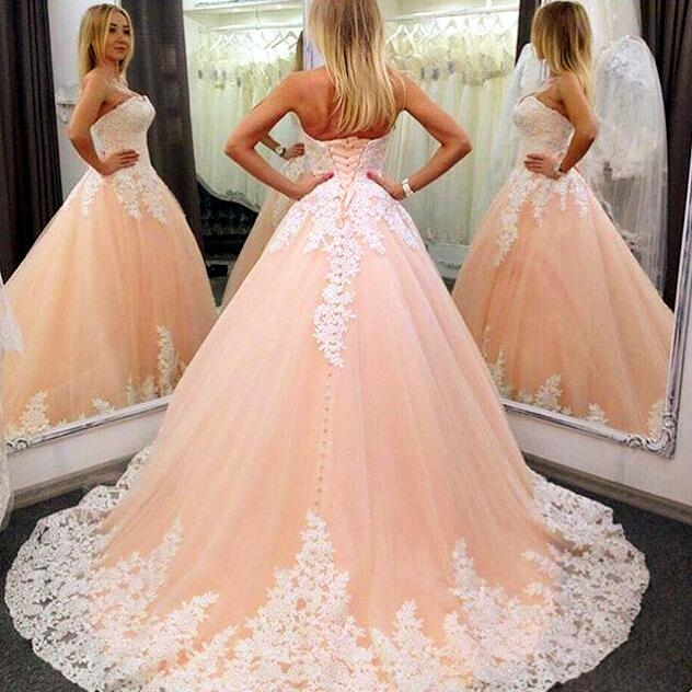 Strapless Nude Ball Gown Wedding Dresses , Lace Wedding Dress, Cheap ...
