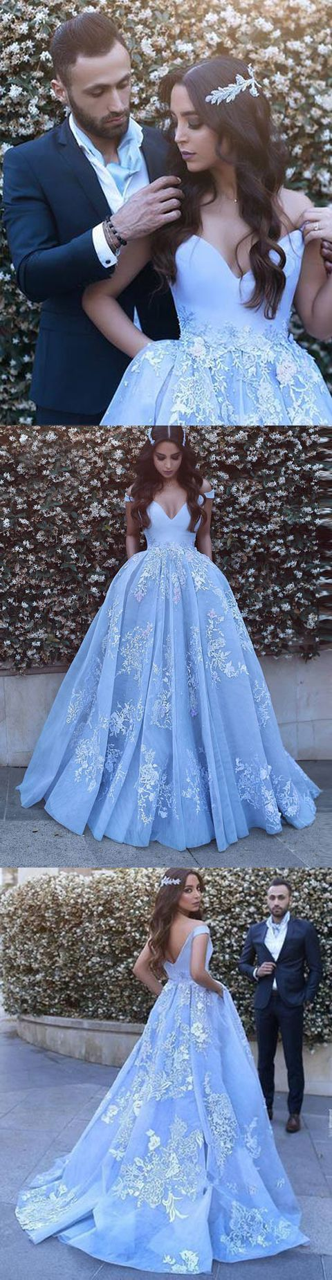 Lace Evening Dress elegant light blue prom dress off shoulder ball ...