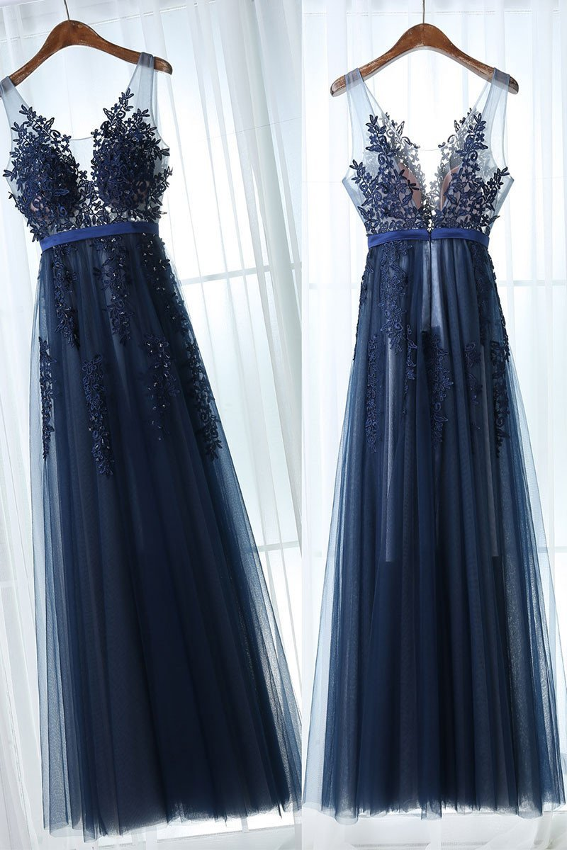 Chic Prom Dresses A Line Dark Navy Appliques Prom Dressevening