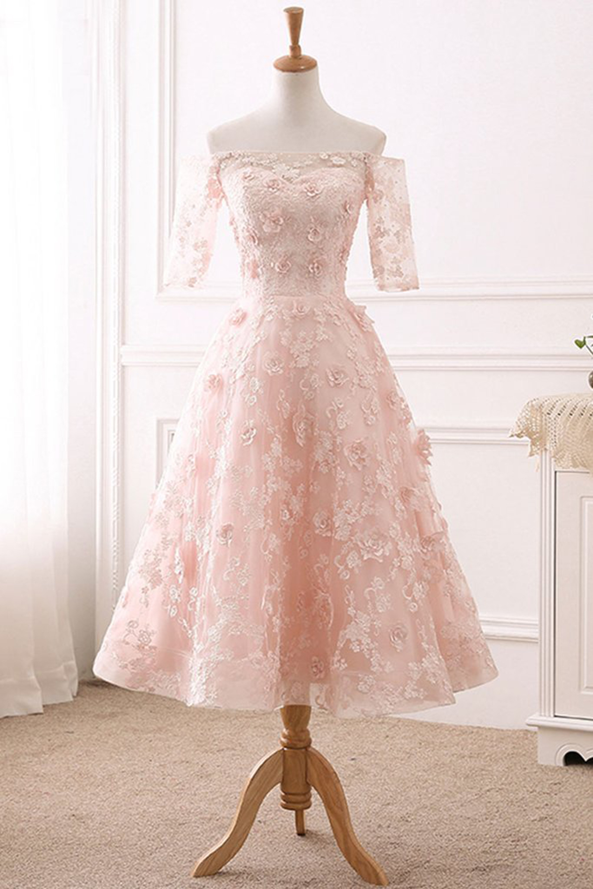 Cheap Prom Dresses by SweetheartDress · Pink lace sweet off shoulder ...