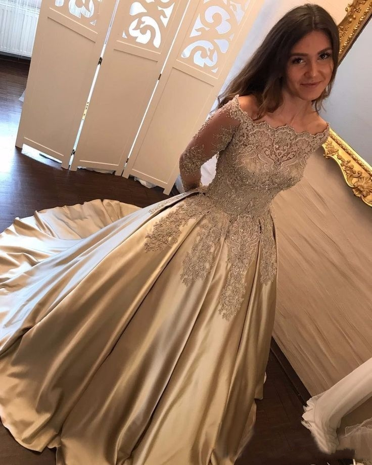 Amazing Gold Prom Dresses Off-the-Shoulder Long Sleeves Ball Gown Party Dresses from Yaydressy