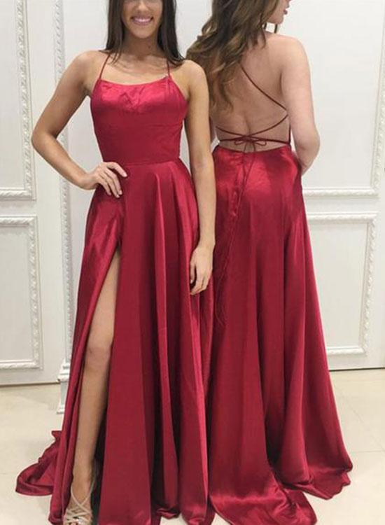 long satin backless dresses