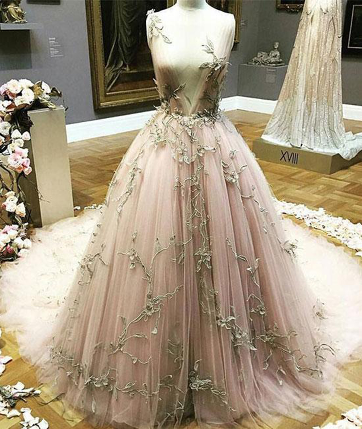 Blush Pink Tulle Long Gold Lace Appliques Evening Dress Long Winter
