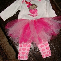 MY FIRST VALENTINES DAY 3 pcs Outfit with Tutu Skirt Top and Leggings
