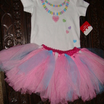 I LOVE YOU CANDY NECKLACE ONESIE & TUTU SKIRT 2 PC SET OUTFIT