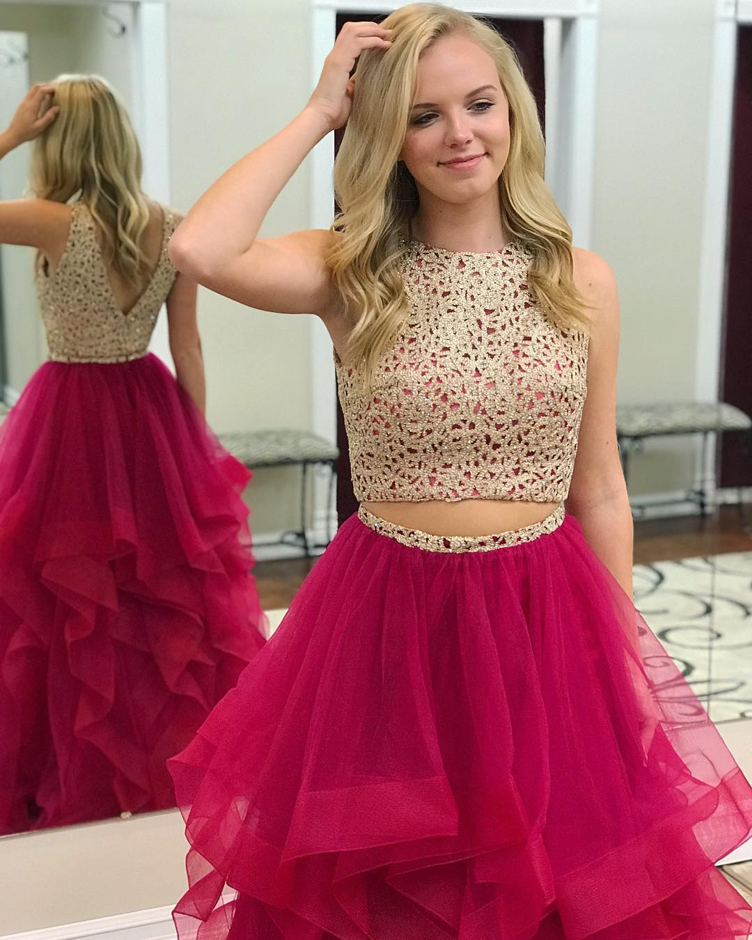 Two Piece Sequins Fuchsia Long Prom Dress · modseleystore · Online ...
