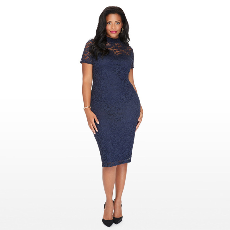 Navy Blue Lace High Neck Short Sleeves Knee Length Plus Size Bodycon