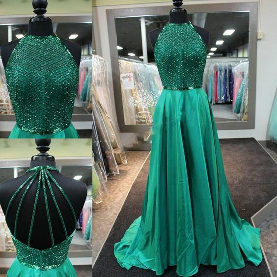 Long Prom Dress Halter Emerald Green Occasion Dress Ps4514