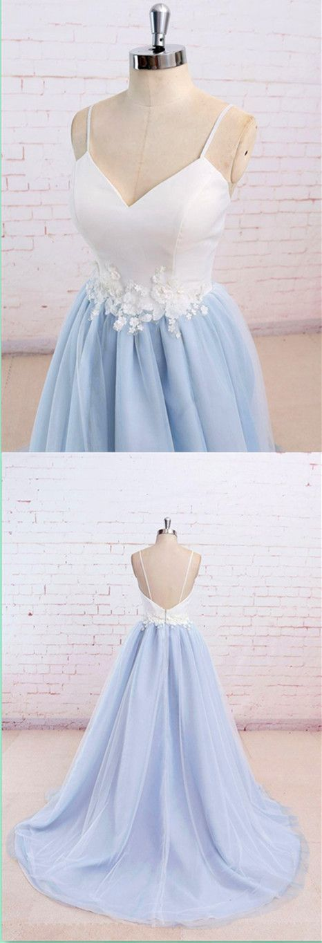 Blue Spaghetti Straps Sweet 16 Party Prom Dress,Long Prom Dresses ...