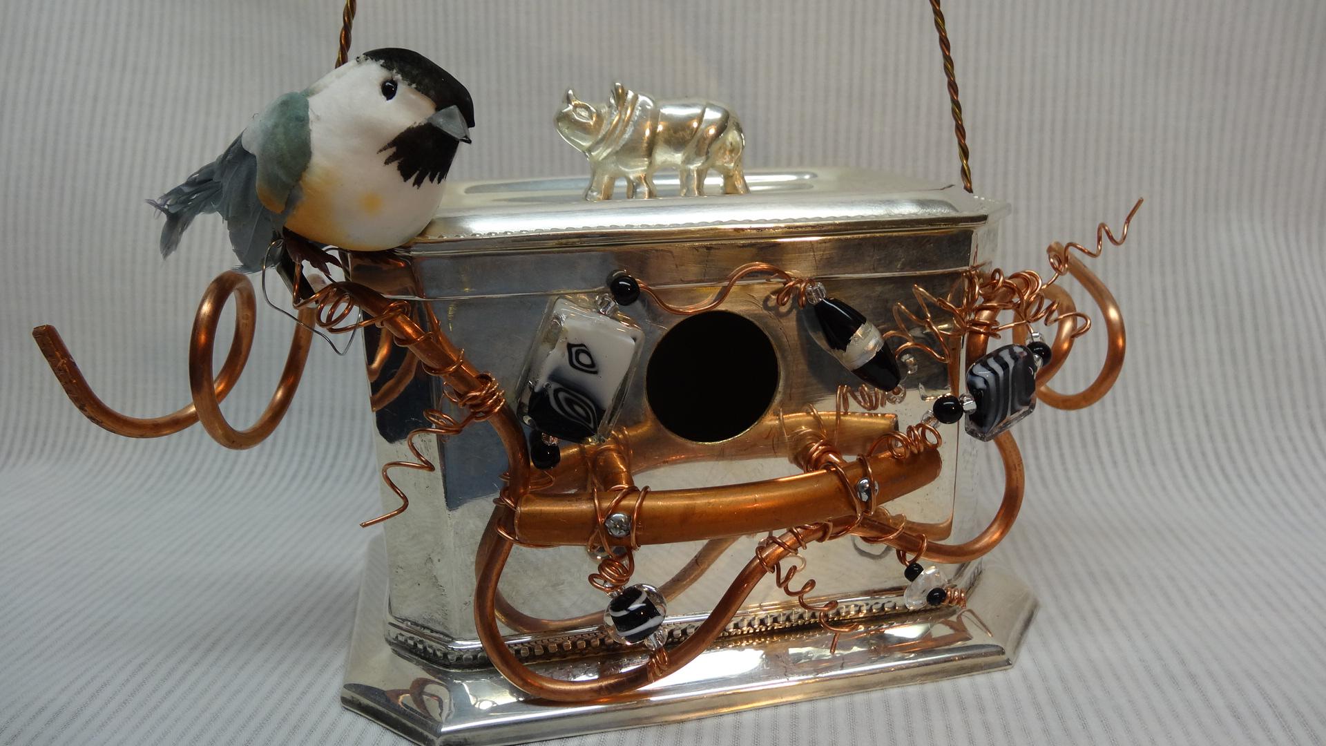 bird houses BlackandWhite gift ideas rhino yard art