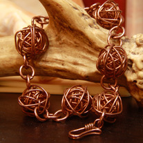 Solid Copper Orbital Ball Bracelet