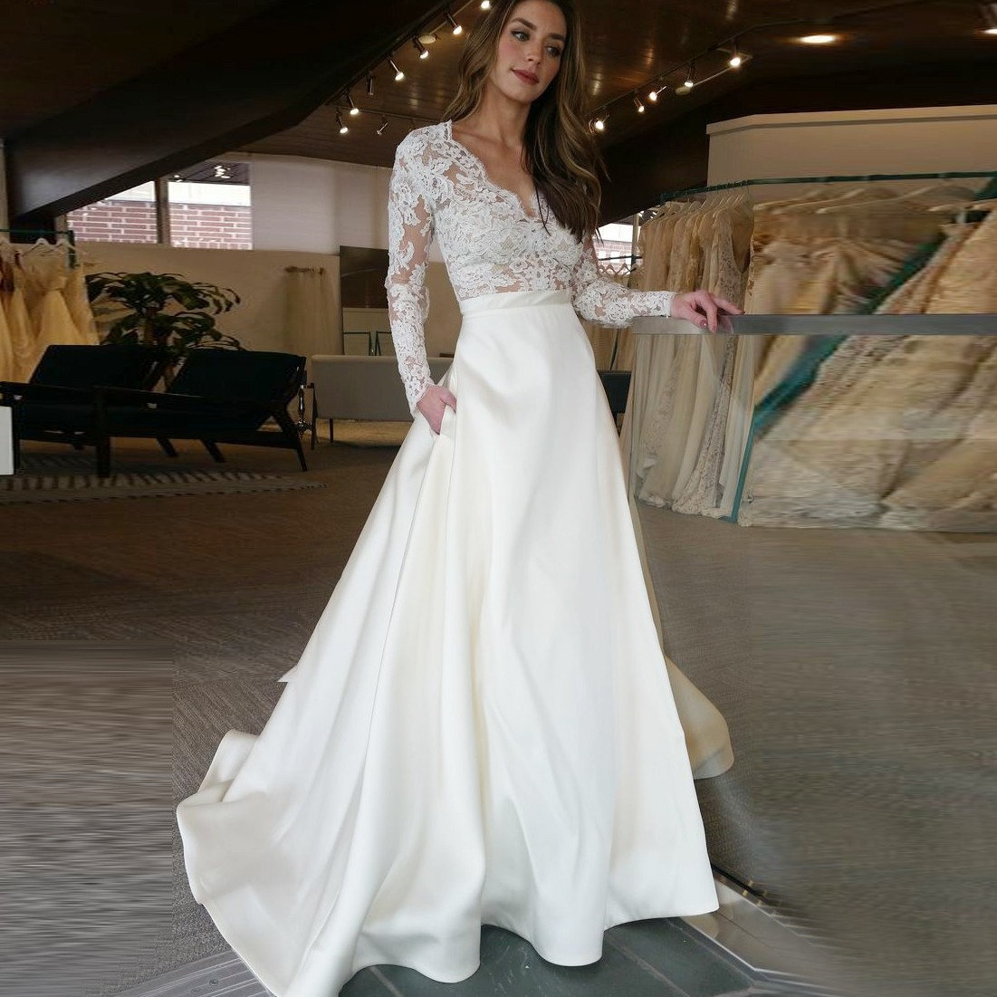 Charming a line v neck long sleeves white floor length promwedding charming a line v neck long sleeves white floor length promwedding dress junglespirit Gallery
