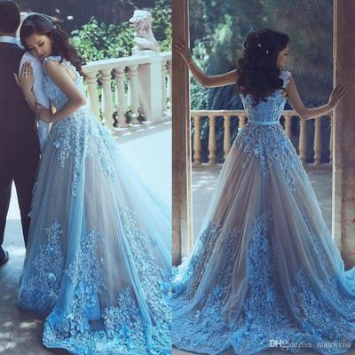 new arrival prom dress2018 light blue with lace prom