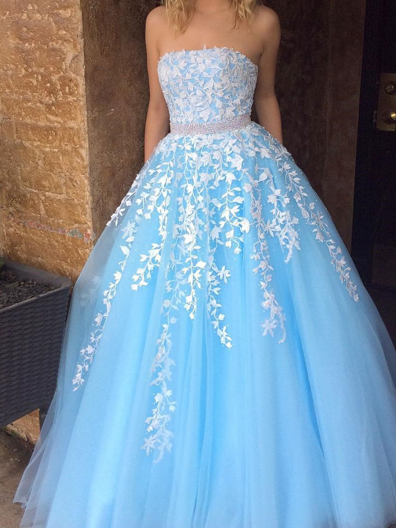 A-line Princess Straight-Neck Blue Floor Length Prom Dresses ...