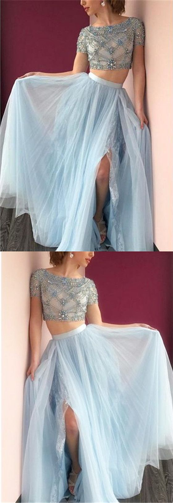 Round Neck Short Sleeve Light Blue Tulle Beaded Prom Dresses, Lace ...