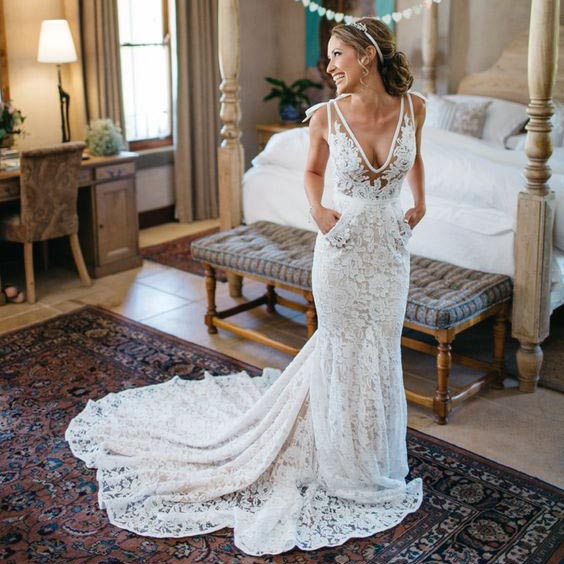 Mermaid Deep V-Neck Beach Wedding Dress,Sleeveless Ruched Lace ...