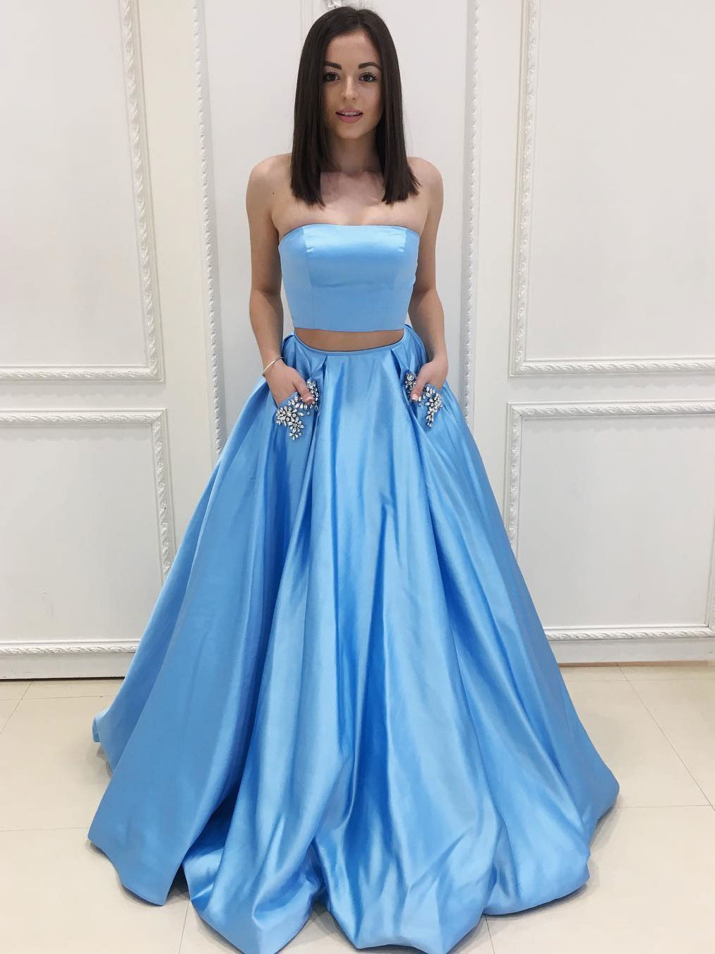 Strapless Taffeta Two-Piece Prom Dress With Puffy Skirt Floor Length ...