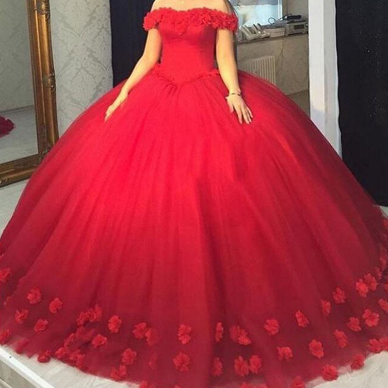 Red Tulle Ball Gown Prom Dress,Quinceanera Dresses,Off the shoulder ...