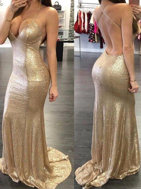 Deep V Spaghetti Sequins prom dresses new style fashion evening ...