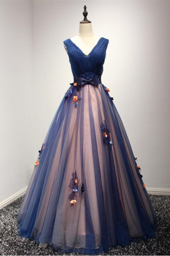 Special V-Neck Tulle Prom Dress with Flowers,Navy Blue Ball Gowns ...