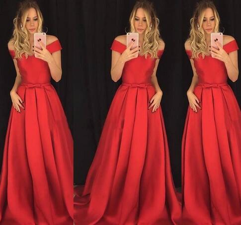 2018 Chic Red Evening Dresses A Line Off Shoulders Bow Knot Sash