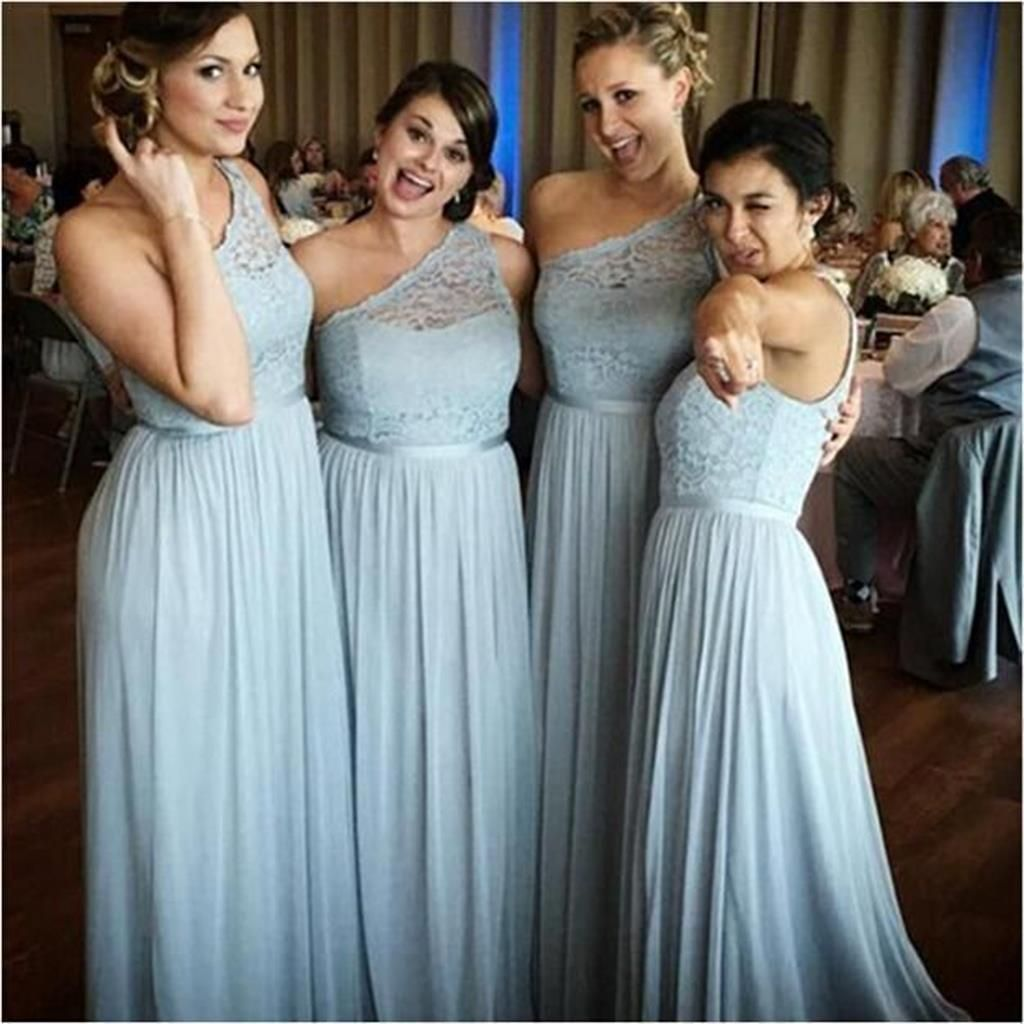 Princess/A-line One Shoulder Lace Bodice Bridesmaid Dresses With ...