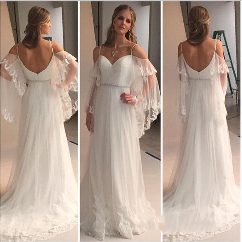 Ivory Bohemian Spaghetti Straps Beach Wedding Dresses with Batwing ...
