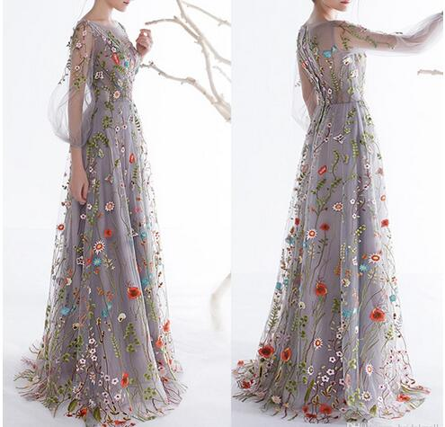 Long Sleeves Prom Dresses 2018 Trendy Floral Embroidery A-line ...