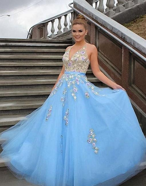 Charming Prom Dress, Sky Blue Tulle Ball Gown Prom Dresses, Long ...