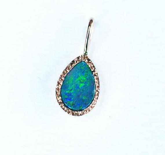 Fire opal pendant gold opal jewelry natural gemstone pendant in