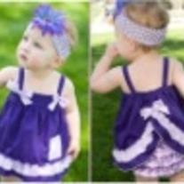 PURPLE Butterfly Dress Swing Top Dress  and Ruffle Bloomer Set