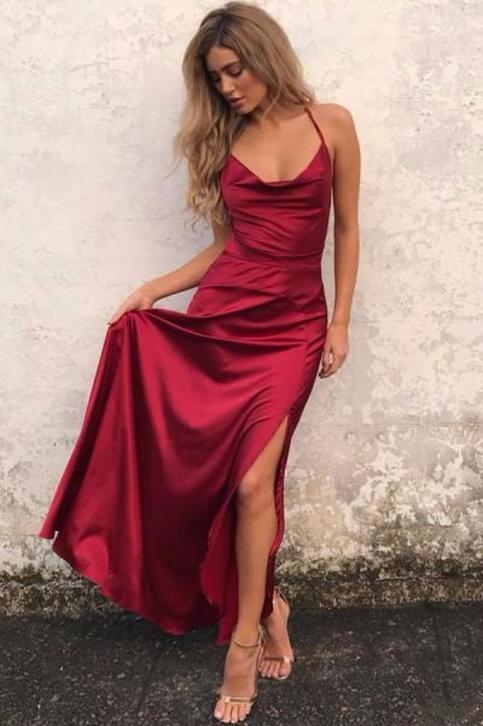 Charming Prom Dress Long Evening Dress Sexy Burgundy