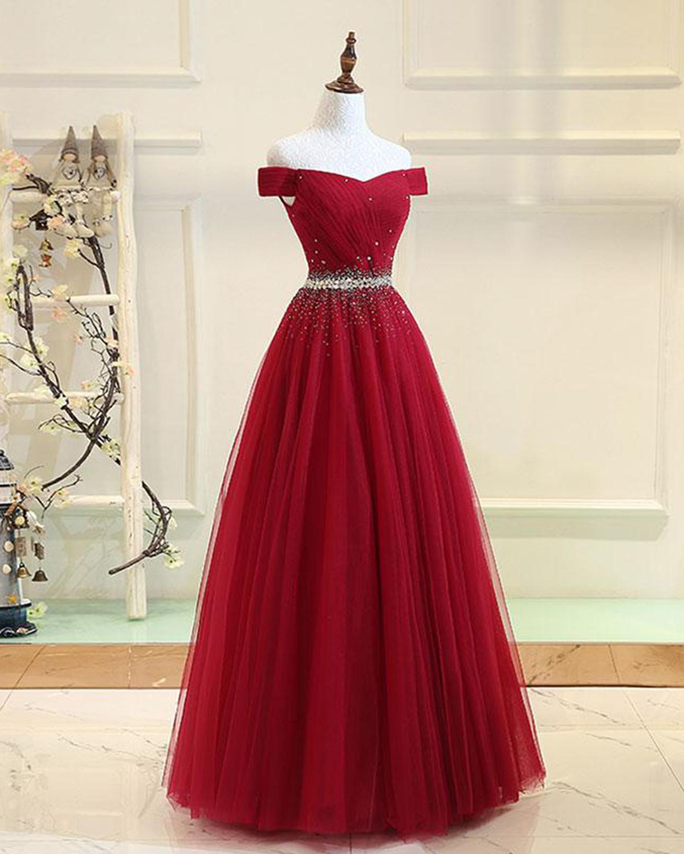 Shinning beaded burgundy tulle off shoulder long evening dress, long ...