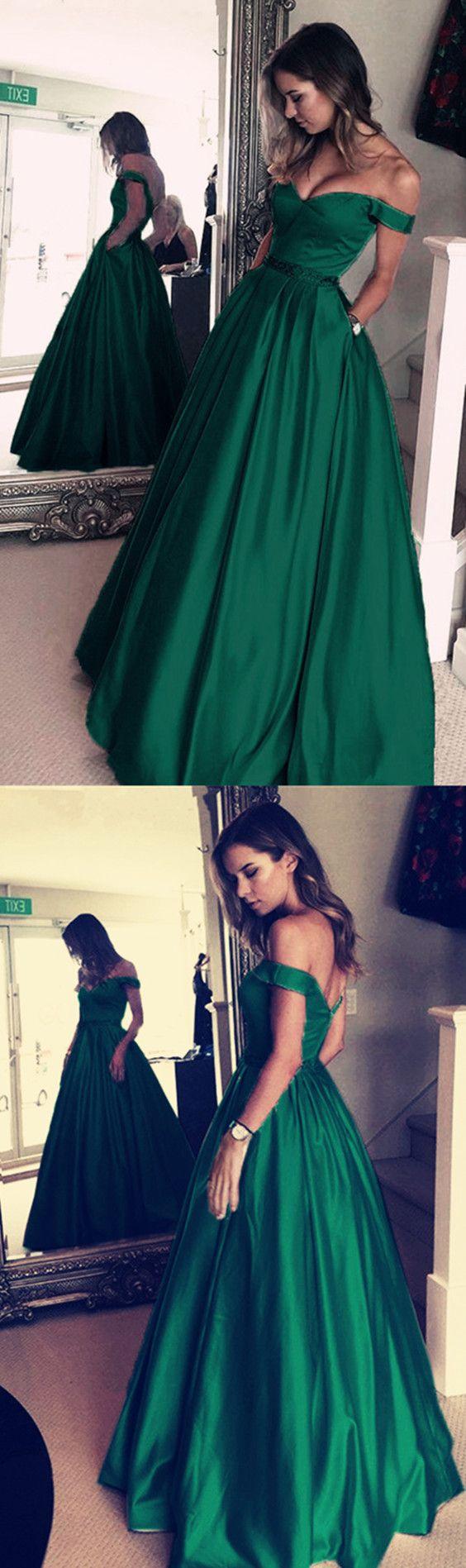 Hunter Green Prom Dress,Off Shoulder Evening Dress,MB 399 · Ms Black ...