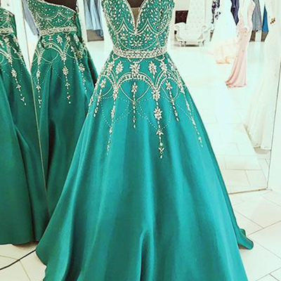 Blue and Green Spring 2018 Prom Dresses
