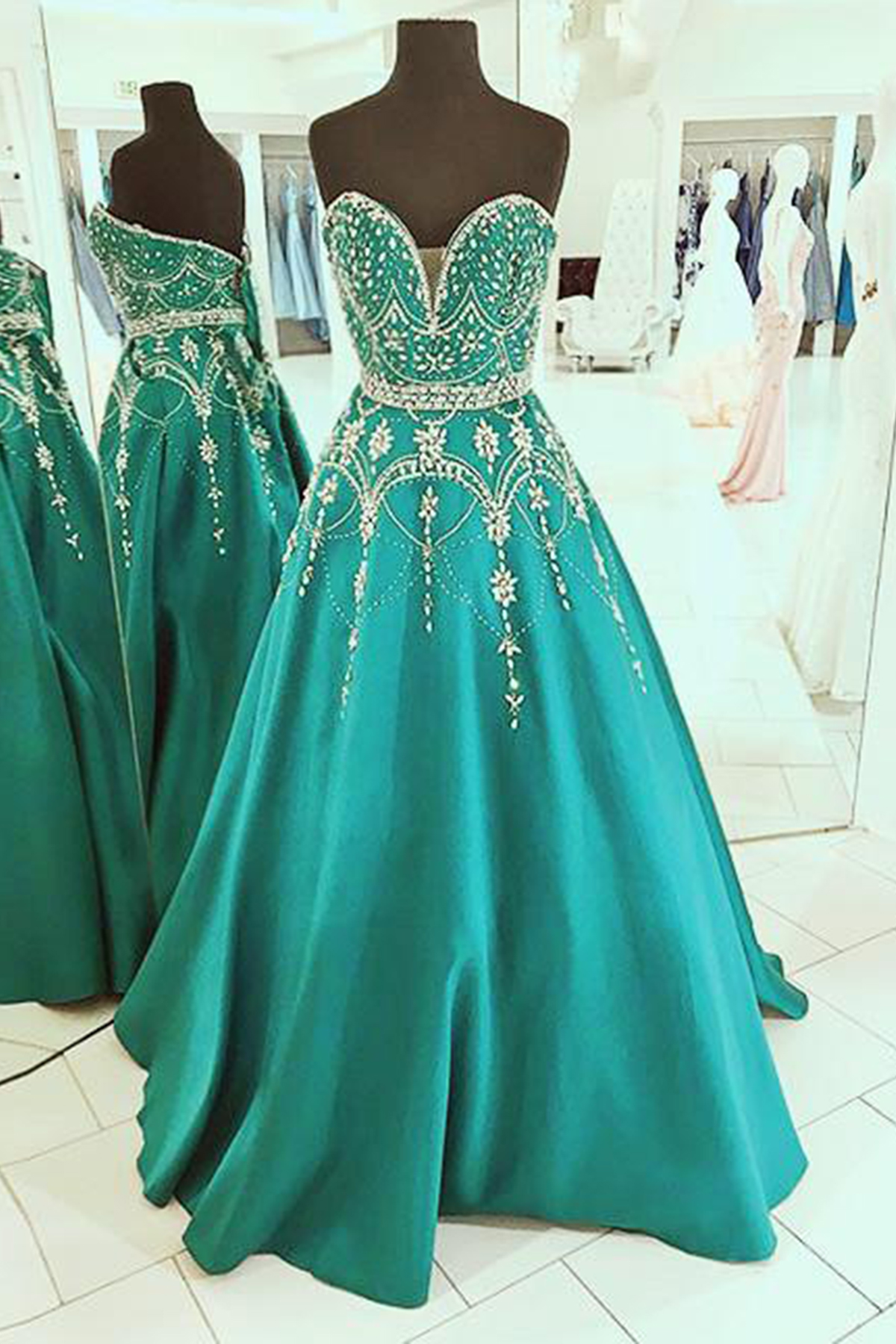 Shinning silver rhinestone sweetheart spring party dress, green ...
