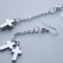 Small Crux Long Silver Cross Earrings