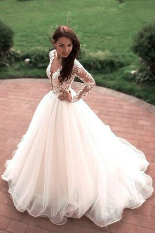 S380 Boho Princess A-Line V-Neck Tulle White Long Sleeves Wedding ...