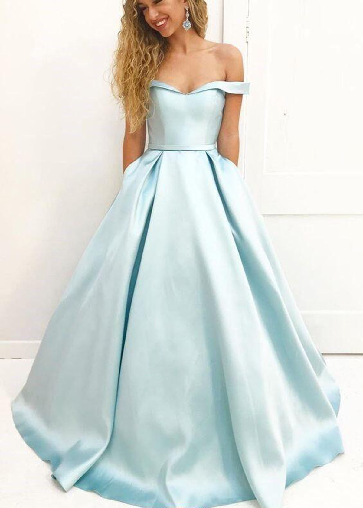 Cute ice blue satin off shoulder long graduation dress, A-line ...
