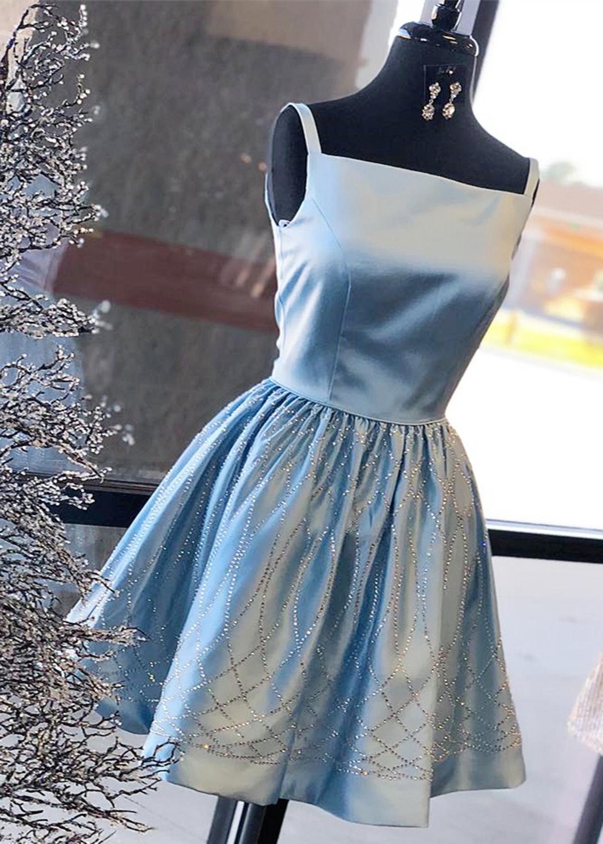 Elegant blue satin short sequins halter prom dress for teens, short ...