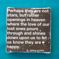 "Subway Art Wall Hanging Canvas 6"" x 6"" - Perhaps they are not stars, but rather openings in heaven"