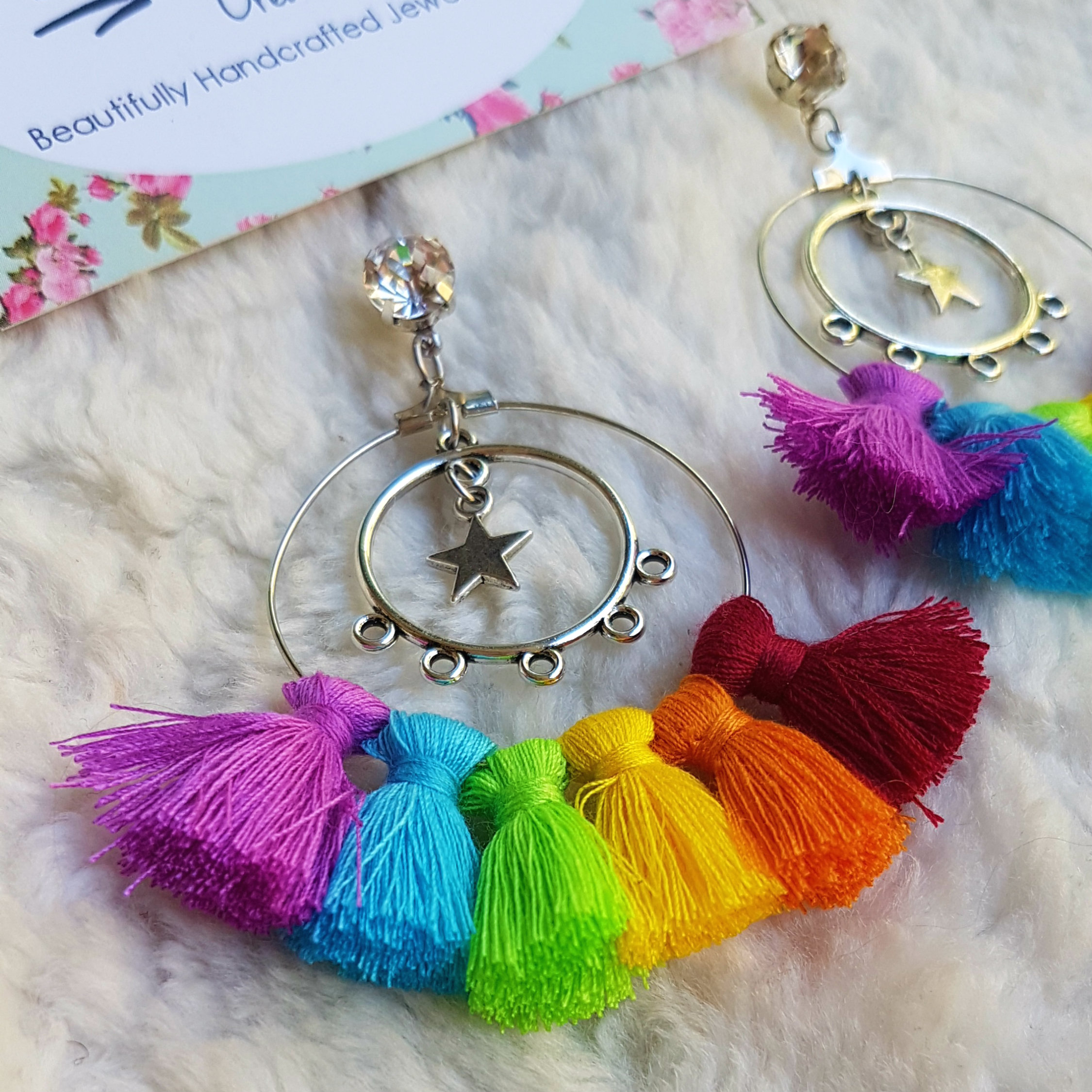 earrings inspired style tk pompom rainbow vintage jewelry