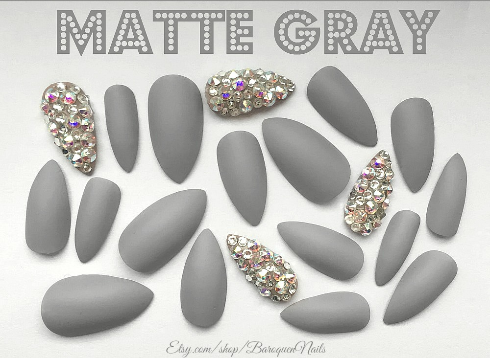 Matte Gray Press On Nails Grey Gel Polish Bling Accent Nail Art ...
