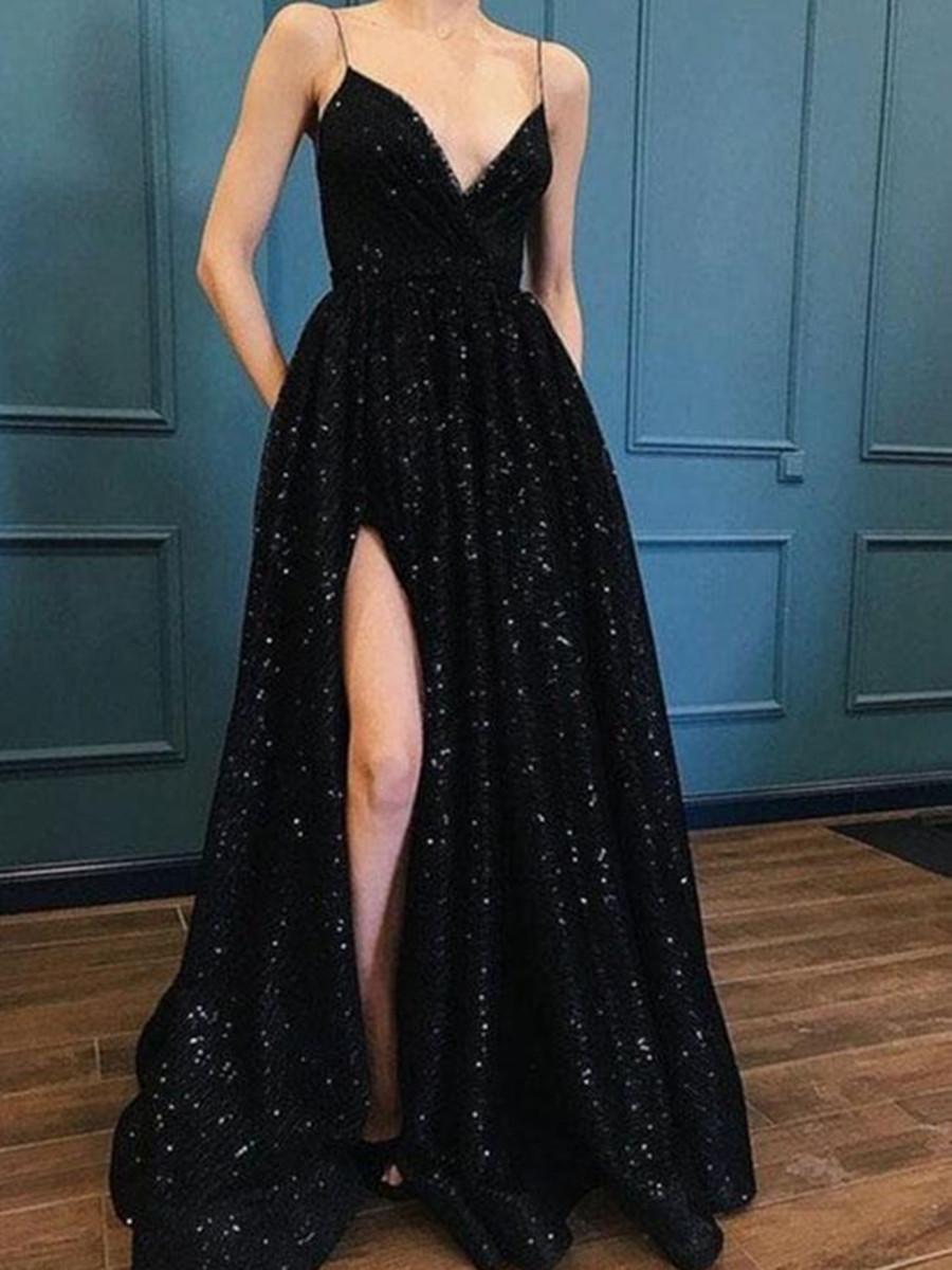 A Line V Neck Black Lace Prom Dress, Black Lace Evening Dress, Black ...