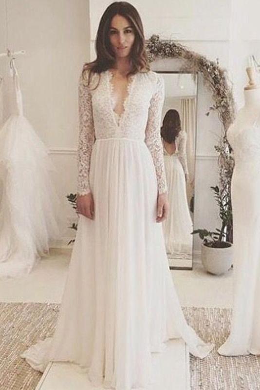 Elegant White Wedding Dress,Chiffon Long Sleeves Bridal Dress,Lace ...